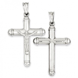 Sterling Silver Rhodium plated Reversible Crucifix Pendant