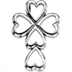 14K White Gold Heart CROSS PENDANT