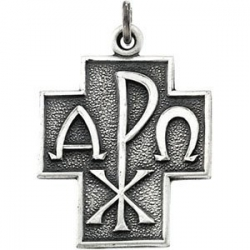 Sterling Silver ALPHA   OMEGA CROSS