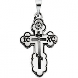 14K White Gold DIE STRUCK ORTHODOX CROSS