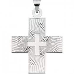 14K White Gold GREEK CROSS PENDANT