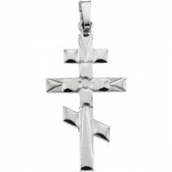 14K White Gold ORTHODOX CROSS PENDANT
