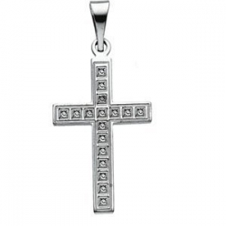 14K White Gold CROSS PENDANT W DESIGN