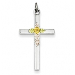 Sterling Silver Polished Epoxy   Gold Plated Cross Pendant