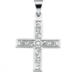 14K White Gold GREEK CROSS PENDANT W ORNATE DESIGN