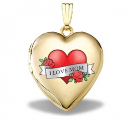 14K Solid Yellow Gold Mothers Day  Mom Tattoo  Heart Locket