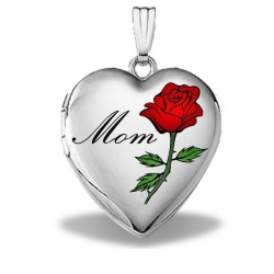14k White Gold Mothers Day  Mom  Heart Locket