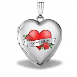 14k White Gold Mothers Day  Mom Tattoo  Heart Locket