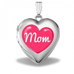 14k White Gold Mothers Day  Mom Heart  Heart Locket