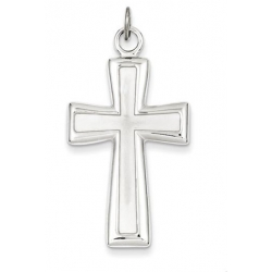 Sterling Silver Polished and Satin Cross Pendant