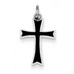 Sterling Silver Black Enameled Cross Charm