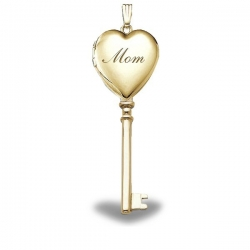 Solid 14K Yellow Gold Mothers Day   Mom  KEY Locket