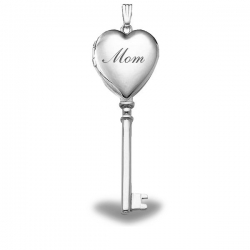14k White Gold Mothers Day   Mom   KEY Locket