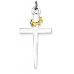 18k Gold  plated Sterling Silver Cross Pendant