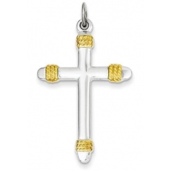 Sterling Silver   18k Gold  plated Rope Cross Pendant