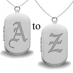 Sterling Silver Ye Olde English Initial Dog Tag Locket