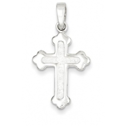 Sterling Silver Polished and Textured Cross Pendant