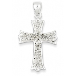 Sterling Silver Polished Filigree Cross Pendant