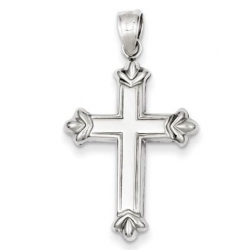 Sterling Silver Rhodium plated Fleur de lis Cross Pendant