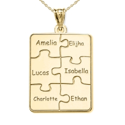 Personalized Family Six Piece Jigsaw Puzzle Pendant