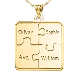 Personalized Family 4 Piece Puzzle Pendant