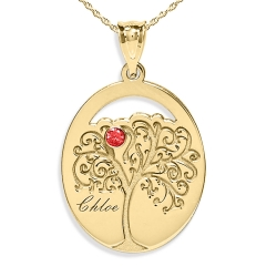 Personalized Family Tree Pendant with Single Name and Birtstones