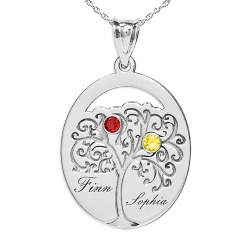 Personalized Family Tree Pendant with Two Name and Birtstones