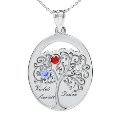 Personalized Family Tree Pendant with Three Names and Birtstones