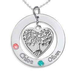 Personalized Family Tree Pendant with Two Names and Birtstones