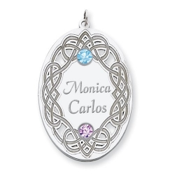 Personalized Celtic Family Pendant with Two Name and Birtstones