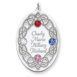 Personalized Celtic Family Pendant with Four Names and Birtstones
