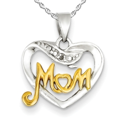 Sterling Silver   Gold Vermiel Mom Charm