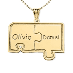Personalized Family Two Piece Jigsaw Puzzle Pendant