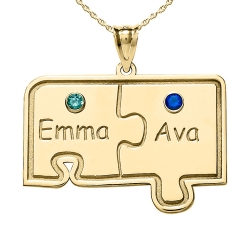 Personalized Family Two Piece Jigsaw Puzzle Pendant with Birthstones