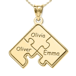Personalized Family Three Piece Jigsaw Puzzle Pendant