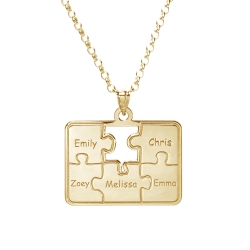 Personalized Family Five Piece Jigsaw Puzzle Pendant