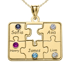 Personalized Family Five Piece Jigsaw Puzzle Pendant w  Birthstones