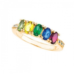 Mother s Ring with Five Birthstones and Diamonds