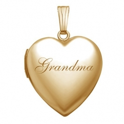 Solid 14K Yellow Gold   Grandma  Sweetheart Locket