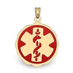 14K Filled Gold Floral Curved Medical Charm W  Red Enamel