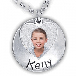 Hand Stamped Photo Pendant W  One  Name