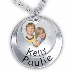 Hand Stamped Photo Pendant W  Two Names