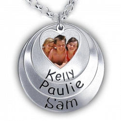 Hand Stamped Photo Pendant W  Three Names