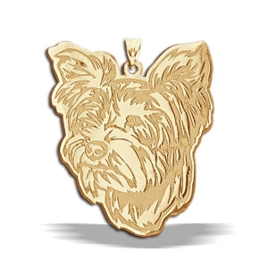 Yorkshire Terrier Dog Portrait Gold Charm Or Pendant