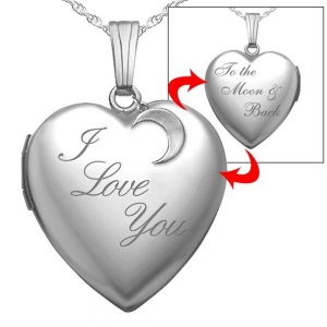 Love You To The Moon and Back Heart Lockets