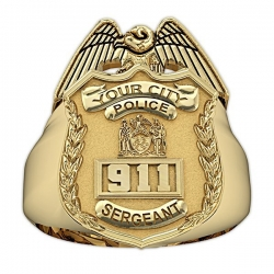 New York Personalized Police Sergeant Badge Ring w  Number   Department