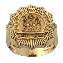 Personalized Lieutenant Badge Ring w  Department