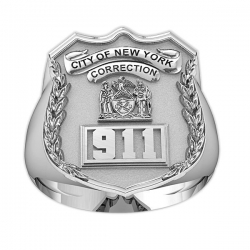 New York Personalized Corrections Officer Ring w  Badge Number   Department
