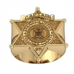 New York Personalized Sheriff Ring w  Badge Number  Department    Rank