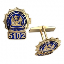 Personalized New York Detective Enamel Badge Cuff Links w  Your Number   Department
